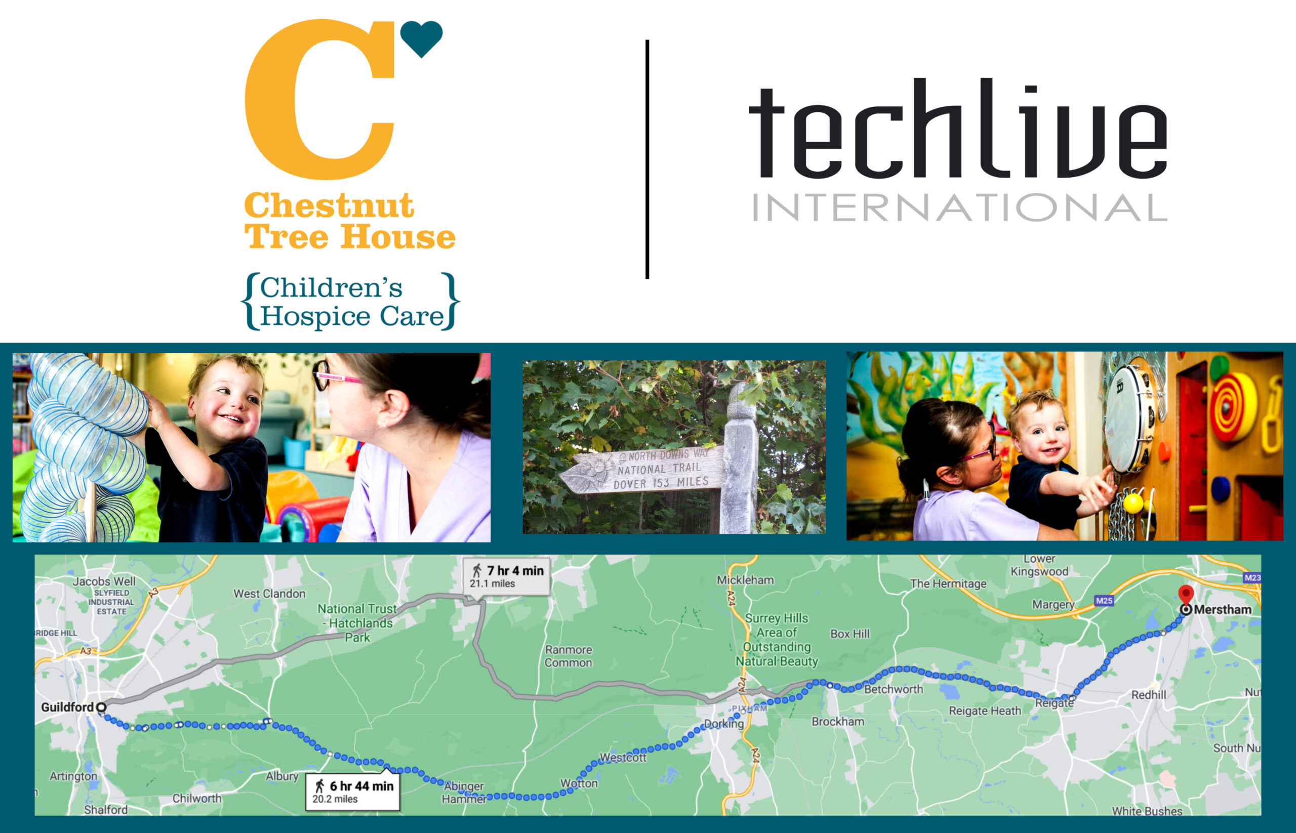 image of the North Downs route that Techlive will be taking to raise money for chestnut tree house